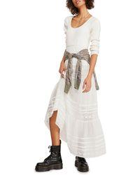 Free People Earth Angel Long Sleeve Midi Dress - White