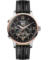 INGERSOLL WATCHES Ingersoll Grafton Automatic Leather Strap Watch - Metallic