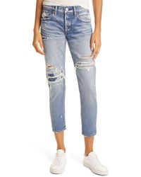 Moussy Louisville Distressed Ankle Skinny Jeans - Blue
