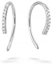 Lana Jewelry Hooked On Diamond Hoop Earrings - Metallic