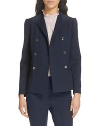 TAILORED BY REBECCA TAYLOR Double Breasted Jacket - Blue