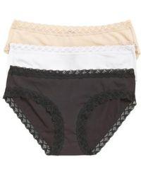 Natori - Bliss 3-pack Cotton Girl Briefs, Black - Lyst