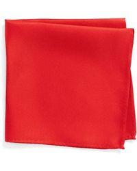 Nordstrom King Twill Silk Pocket Square - Red