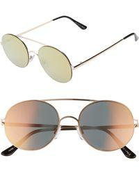 Glance Eyewear 53mm Round Sunglasses - Metallic