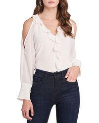1.STATE 1. State Ruffle Cold Shoulder Top - Multicolor