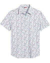 Stone Rose Short Sleeve Button-up Performance Shirt - White