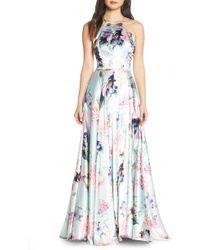 Blondie Nites - Floral Print Charmeuse Evening Dress - Lyst
