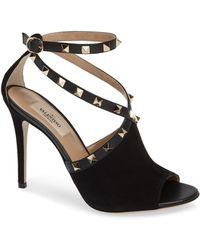 da68f0acf776 Lyst - Valentino Rockstud Anklestrap Peeptoe Sandal in Natural