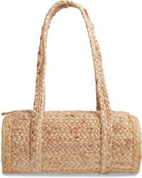 Sole Society Brina Woven Straw Barrel Satchel - Natural
