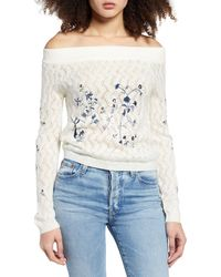 Endless Rose Embroidered Off The Shoulder Sweater - White