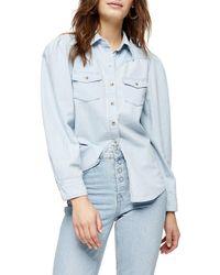 TOPSHOP Bleach Denim Puff Sleeve Western Shirt - Blue