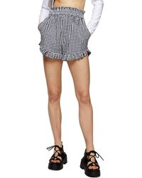 TOPSHOP Black And White Seersucker Gingham Shorts