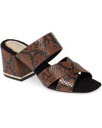 Kenneth Cole Women's Maisie Snake-print Slides - Brown - Size 9.5 Sandals