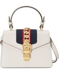 5c6249f8a35 Gucci - Mini Sylvie Top Handle Leather Shoulder Bag - Lyst