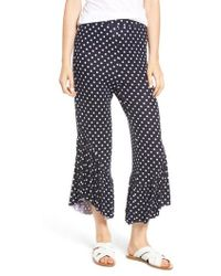 Mimi Chica - Ruffle Hem Wide Leg Crop Pants - Lyst