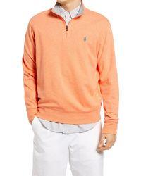 Polo Ralph Lauren Lux Heathered Quarter Zip Pullover - Orange