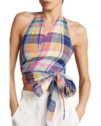 Polo Ralph Lauren Madras Plaid Sleeveless Linen Wrap Blouse - Blue