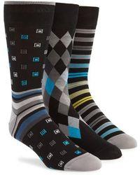 Bugatchi - 3-pack Assorted Mercerized Cotton Blend Sock Gift Set, Black - Lyst
