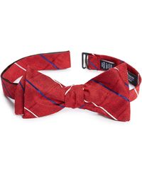 Nordstrom Veilleux Grid Square Silk Bow Tie - Red