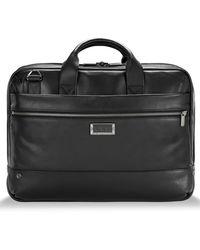 Briggs & Riley Medium Rfid Pocket Leather Briefcase - Black