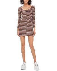 TOPSHOP - Long Sleeve Striped Button Mini Dress - Lyst