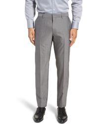BOSS - Genesis Flat Front Solid Wool Trousers - Lyst