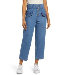 BP. Nonstretch Paperbag Waist Jeans - Blue