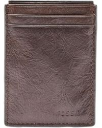 Fossil - Neel Magnetic Card Case Wallet Brown - Lyst