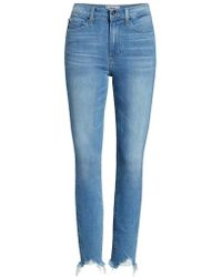 PAIGE - Transcend Vintage - Hoxton High Waist Ripped Ankle Skinny Jeans - Lyst