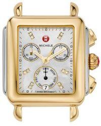 Michele - Deco Diamond Dial Two-tone Watch Head - Lyst