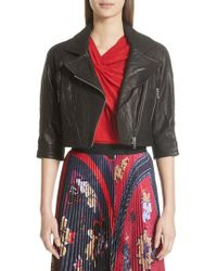 Yigal Azrouël - Crop Leather Moto Jacket - Lyst