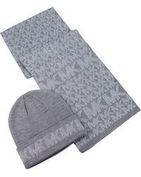 Michael Kors Metallic Logo Beanie & Scarf Set - Gray