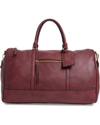 Sole Society Devon Faux Leather Weekend Duffle Bag - Burgundy - Purple