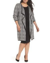 Vince Camuto - Houndstooth Drape Duster Cardigan - Lyst