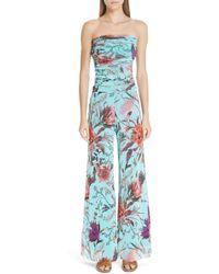 Fuzzi - Floral Tulle Strapless Jumpsuit - Lyst