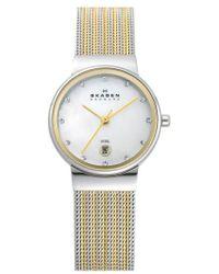 Skagen - 'ancher' Round Two-tone Mesh Watch - Lyst