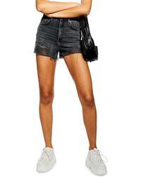 TOPSHOP Ripped Mom Denim Shorts - Black