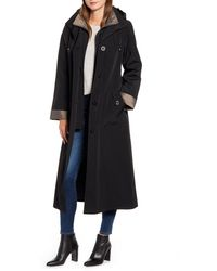 Gallery Full Length Two-tone Silk Look Raincoat - Black
