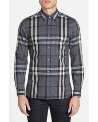 Burberry 'nelson' Trim Fit Check Sport Shirt - Blue