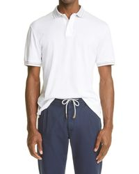 Eleventy Contrast Stripe Short Sleeve Polo - White