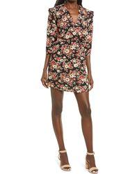 Fraiche By J Pem Ruffle Shoulder Floral Dress - Multicolor