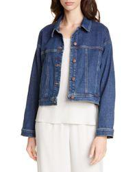 Eileen Fisher Crop Stretch Denim Jacket - Blue