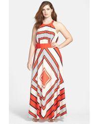 Eliza J - Scarf Print Woven Maxi Dress - Lyst