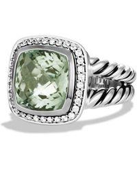 David Yurman Albion Ring With Semiprecious Stone & Diamonds - Green