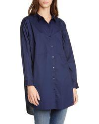 Eileen Fisher Long Boxy Stretch Organic Cotton Shirt - Blue
