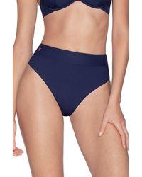 Maaji Suzie Q Reversible High Waist Bikini Bottoms - Blue