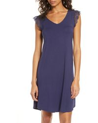 Nordstrom Moonlight Lace Trim Nightgown - Blue