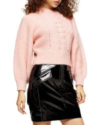 TOPSHOP Petite Pink Knitted Pointelle Crop Sweater