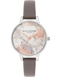 Olivia Burton - Abstract Floral Leather Strap Watch - Lyst