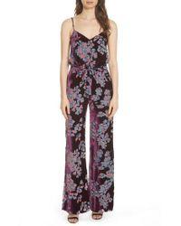 Saloni - Loretta Floral & Stripe Print Jumpsuit - Lyst